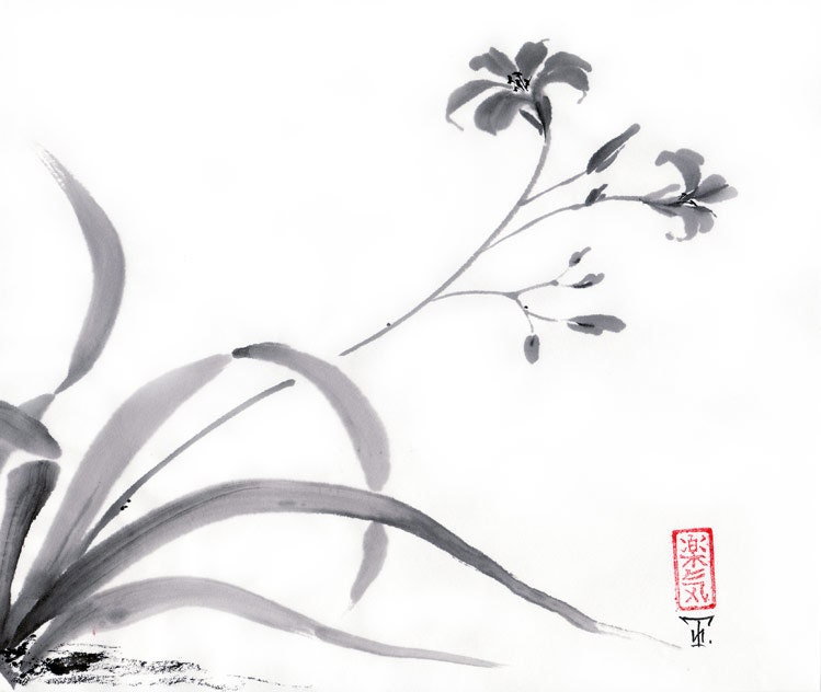 Japanese Ink Drawings Original Art Painting Orchid Sumi e By