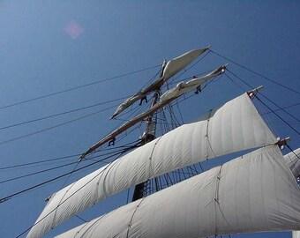 Star Of India Sails Cross Stitch Pattern - Vintage Photograph - Sailing Ship