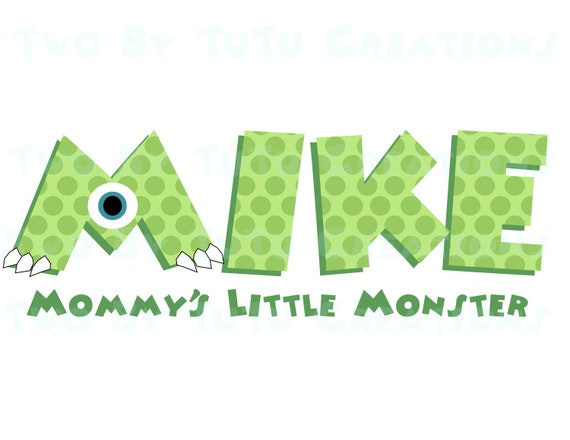 Disney Monster's Inc Personalized Name DIY Printable Image for Iron On Shirt Transfer Mike