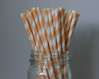 25 Peach Striped Paper Straws and Printable Flag Toppers