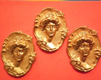 3 Vintage Brass 70x43mm 3D Victorian Stampings