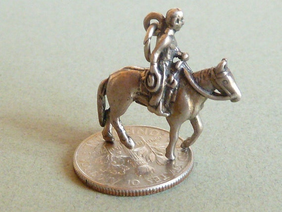 Vintage  Sterling  Silver Charm Cowboy and horse  Bracelet Charm Pendant