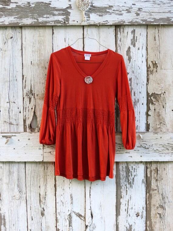 Sweet Pumpkin Pie Spice Tunic/ upcycled pumpkin orange princess top/ eco friendly boho shirt