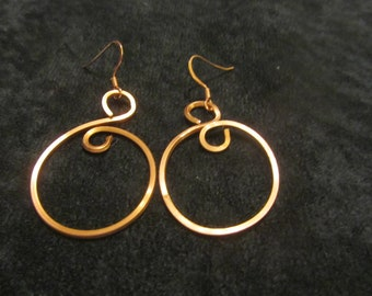 Simple copper Hoop Earrings