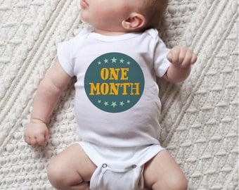 Baby Boy Monthly Stickers - Hand Lettering - Bodysuit Baby Stickers - Milestone Stickers - Set of 12