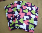 Three (3) Flannel Burp Cloths - Dark Purple with Pink, Green, and White Hearts - Quilted and Contoured - Baby Girl Shower Gift