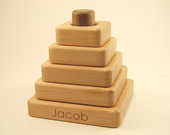 Wooden Stacker Toy - Square, Organic