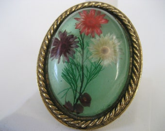 Spring Garden Clear Resin Vintage Brooch