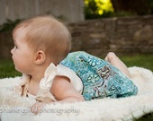 Baby Dress with Bloomers - (Itty Bitty Dress Teal Paisley) MADE TO ORDER