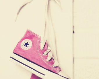 Pretty In Pink - 8x12 Converse old school chucks pink baby girl home nursery decor wall art cream retro vintage style toddler room shoes