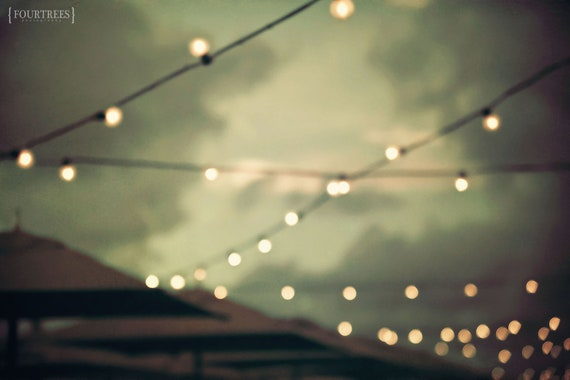 Sunset Pier - Umbrella bokeh lights string forest sage green pier home nursery dreamy decor wall art party photography print photo line wire