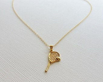 Tennis Racket Necklace in Sterling Silver  (18k Yellow Gold Plating)