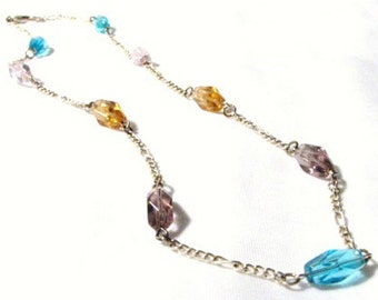 Glass Beads and Silver Chain Necklace