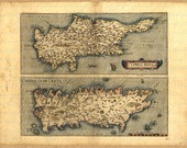 Map Of Cyprus And Crete From The 1500s 095  Ancient Nicosia Knossos Chania Heraclion Labyrinth Mediterranean Antique Vintage Digital