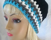 Crochet Beanie - Black, white, grey and pops of teal