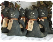 """Prim """"The 5 Whimsical Cats of Halloween"""" Ornie/Bowl Fillers with Grungy Tags and Hand Stitched Faces E-Pattern"""