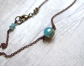 Jadeite Blue round bead necklace Jadeite Blue copper color plated Faceted round Glass Beads necklace on antique copper chain  RC08