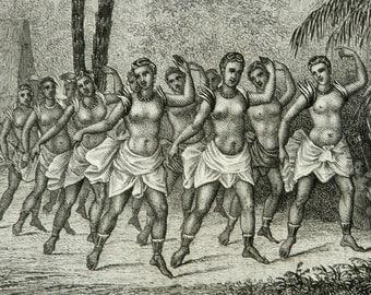 1860 Antique print of ANTIQUE POLYNESIAN DANCES. Polynesia. Oceania. 154 years old fashion lithograph
