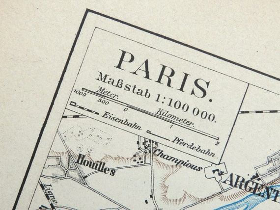 1894 Antique city map of PARIS, FRANCE. 118 years old map.
