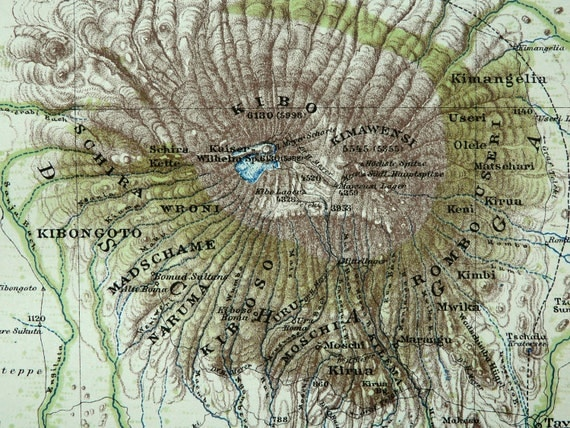 1895 Antique map of the MOUNT KILIMANJARO. TANZANIA. Volcano. 117 years old map.