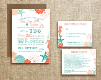 PRINTABLE Beach Tropical WEDDING INVITATION Destination Wedding - Miami suite