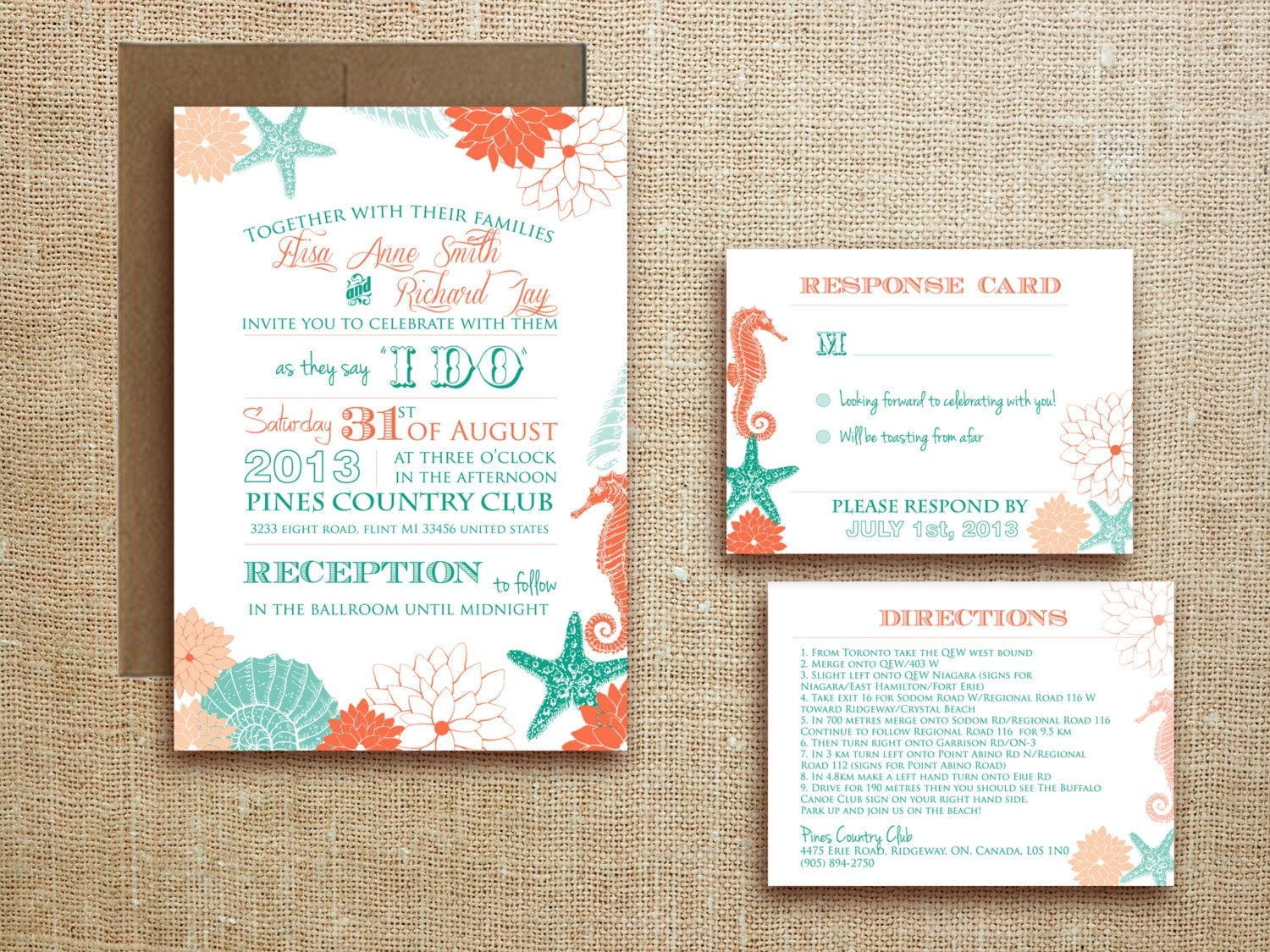 Beach Theme Wedding Invitation Kits as luxury invitation design