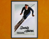 Sports d'Hiver Retro Travel And Tourism Poster, 1940 - 8.5x11 Poster Print - also available in 13x19 - see listing details