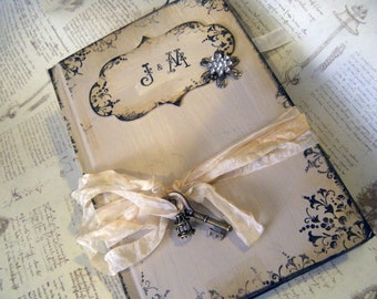 Wedding Guest book in Shabby Chic Style Vintage lace Cream or Ivory