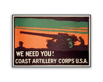 Vintage Poster US Artillery Corps on 12x8 PopMount Ready to Hang FREE SHIPPING