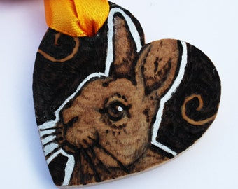 Rabbit Heart - Pyrography Gift Tag - Love Token - Personalised