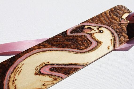 Flamingo bookmark - Pyrography and enamel