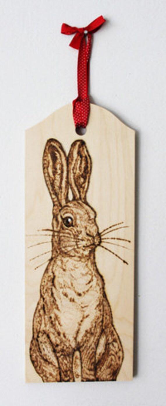 Pyrography Bracken Hare Wall Hanging