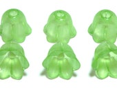 Frosted Peridot Bell Flower 14x12mm, 6 Pieces, Lucite / Acrylic Beads, Item 670