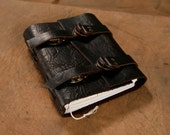 Leather Journal - Rustic Black - Dual adjustable strap - Diary - Notebook - Sketchbook 5x6