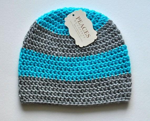 Baby Hats - Bright / Neon Blue  & Gray Baby Beanie Hat (Baby Gifts Baby Beanie Newborn Hat Crochet Baby Hat Newborn Hats Baby Beanies)