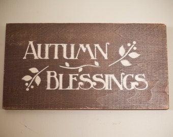 Autumn Blessings Wood Sign