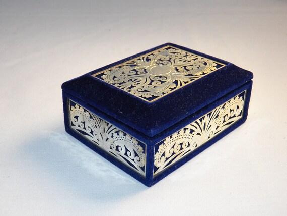 Vintage Silver and Blue Velvet Trinket Box- Vanity Jewelry Box- Treasure Keepsake Hinged Box