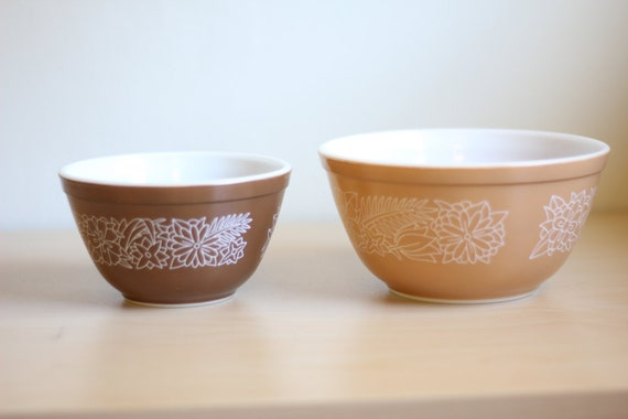 Two Vintage Pyrex Woodland Bowls