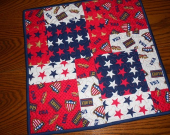Americana Table Topper/ Patriotic Table Topper/ 4th Of July Candle Mat/