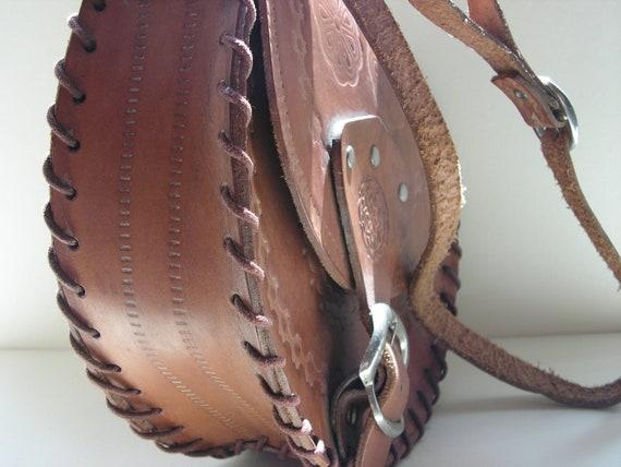 Tooled leather bag / shoulder bag