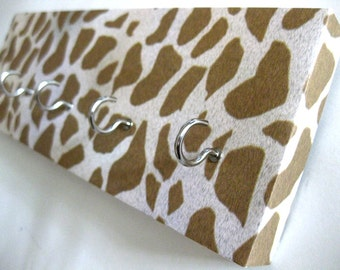 "Giraffe Key Rack Giraffe Jewelry Rack Animal Print White and Brown Brown and Cream Animal Wildlife Jewelry Storage Organizer ""Giraffe"""