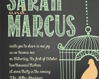 Custom Chalkboard and Birdcage Mint and Peach Wedding Invitations