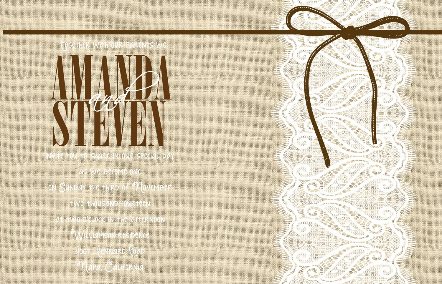 Wedding Invitations With Burlap: Custom Lace Ribbon And Burlap Wedding Invitation