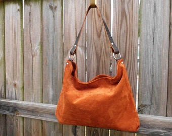 Cinnamon Brown Suede Hobo Bag w/ Leather Straps