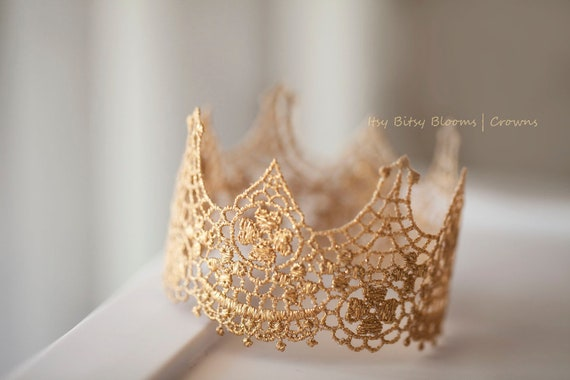 Vintage Inspired Gold Lace Crown, Baby Lace Crown, Baby Photo Prop, Baby Girl Princess Crown