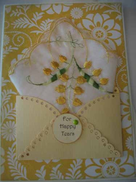 Vintage Wedding Handkerchief Bridal Shower Yellow Gold Lily of the Valley Happy Tears Embroidered Scalloped-Edged Hanky Greeting Card