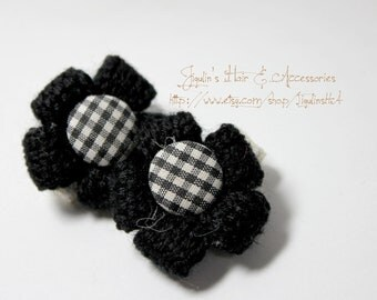 Children hair clips - Yarn petals