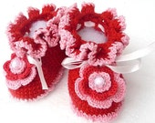 Red Baby Girl Booties with crochet flower