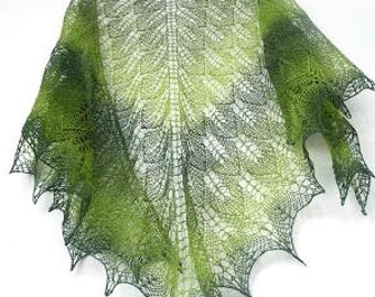 Green Hand knit shawl - woodland summer shawl