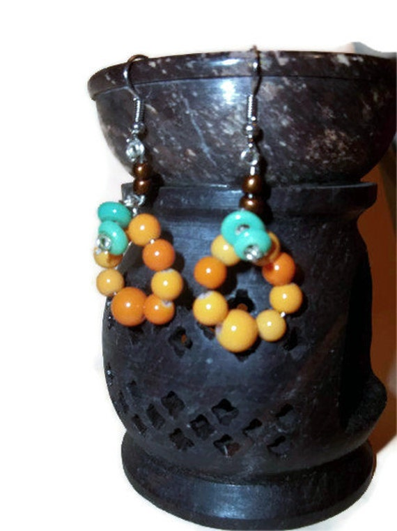 Beaded Pumpkin Earrings, Orange Earrings, Halloween Earrings, Fall Jewelry, Autumn Accessories, Halloween Accessories